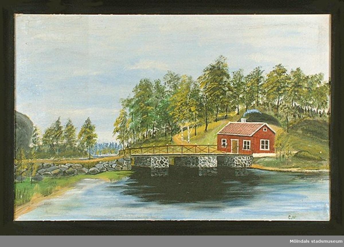 Tavla över Gunnebobro av Charles Mattsson född 1875 och död 1949. Tavlan är målad före 1932.