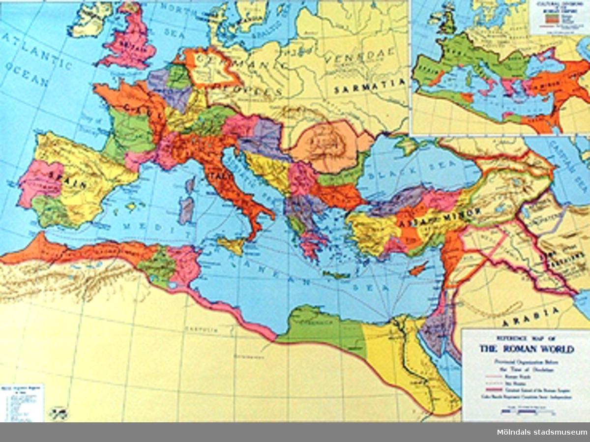 Skolkarta märkt nr 3.Sydeuropa under Romartiden.3b Detalj övre karta.3c Detalj undre karta.