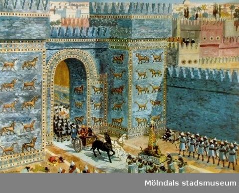 Historia.Babylon: Den berömda Ishtar-porten i stadsmuren.Original: Olle Hagdahl, 1949.Esselte AB, Stockholm.