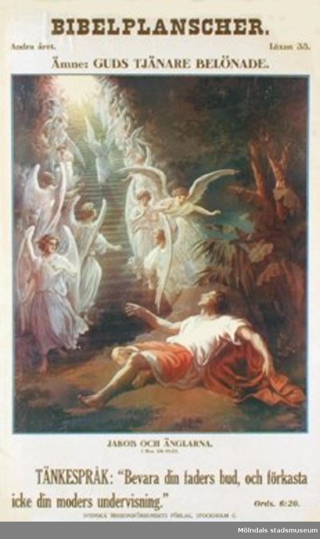 Kristendomskunskap.Bibelplanscher: Guds tjänare belönade. Jakob och änglarna (1 Mos. 22:1-13).