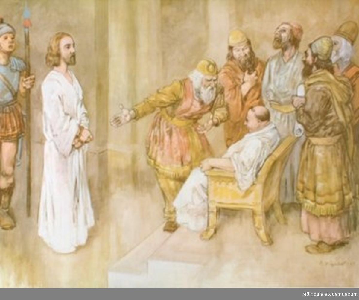 Kristendomskunskap.Jesus inför Pontius Pilatus. (Luk. 23:1-25).Konstnär: R. Högfeldt 1947.Tryckt 1948 av Victor Pettersons bokindustri AB, Stockholm.