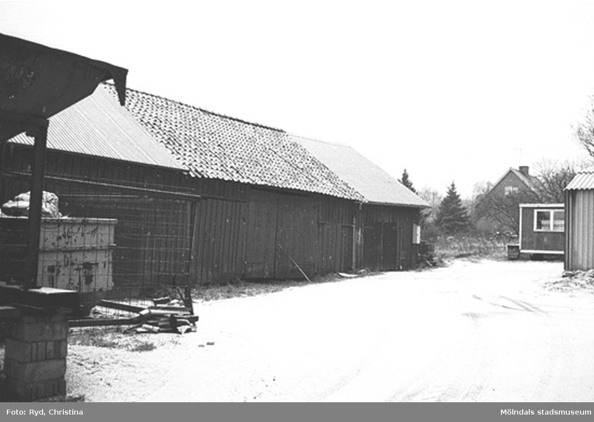 Ladugård vid Ranntorp 1:3, Lindome. Bilden är tagen under 1990-talet.