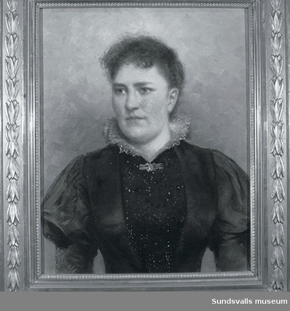 Porträtt  föreställande Lina Thuresson målat av Karl Ekwall 1897.