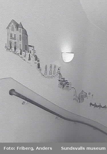 Dokumentation av Gustaf Walles offentliga utsmyckningar. Väggutsmyckning i trapphus, gamla W6-lokalen (nuvarande kårhus).