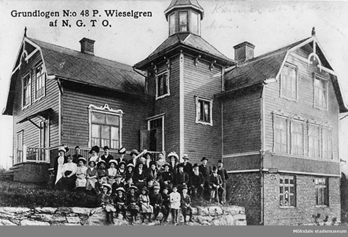 """""""Grundlogen N:o 48 P. Wieselgren af N.G.T.O.""""Hemmet"""" på Ormås, Ormåsgatan 4. Ordenshus för NGTO. Huset brann 1917. Harris Musik finns nu på denna tomt."""