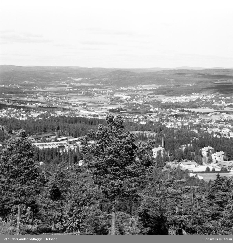 Vy över Sundsvall från Södra berget. LV5, Ortviken, hamnen.