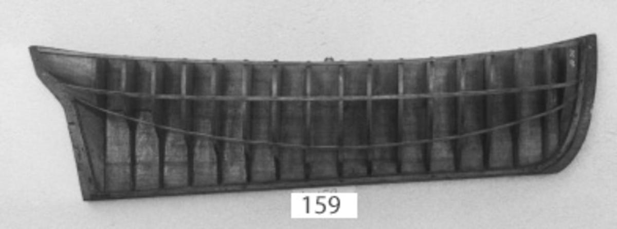 Gavelmodell, av trä, å fartyg byggt på örlogsvarvet i Karlskrona