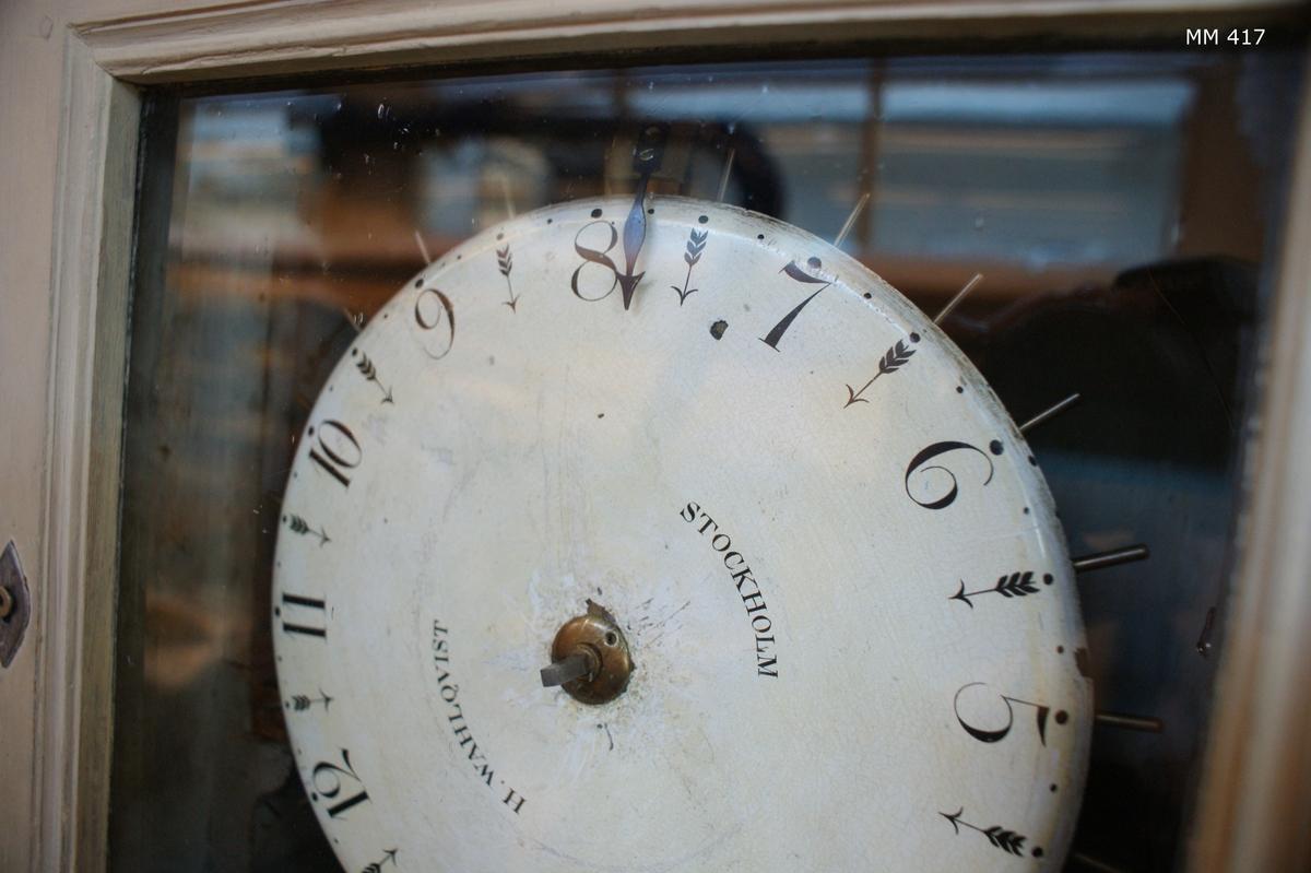 Vaktkontrollur, tillverkat av H. Wahlqvist, Stockholm. Högt klockfodral av trä, vitmålat.  Urverket av Polhems patent. Henric Wahlqvist startade sin urfabrik 1833. Han dog 1870.