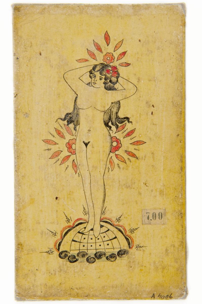 Tatueringsförlaga. Naken kvinna med röd blomma i håret, stående på jordglob.