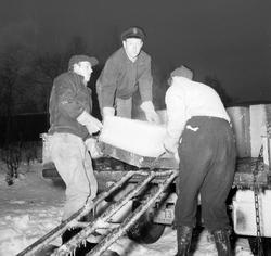 Isskjæring på Tennevatnet. Isblokk lastes på bil. Mannen med