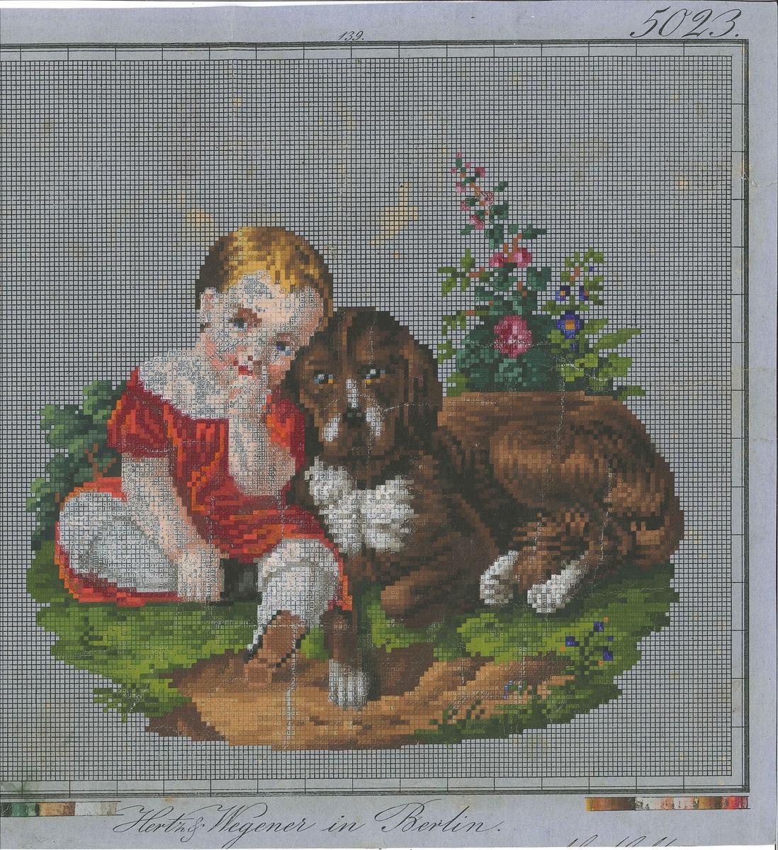 """Broderimønster-ark. Motiv er eit barn og ein hund.  Fargefelt nedst. Rutemønster teikna opp med svart blekk på blågrå, tynn papp og motiv måla på med akvarellmåling. Der målinga er gjennomskineleg eller avflassa, kan ein sjå at det er teikna på symbol for fargane med blekk i kvar rute under akvarellmålinga.  Under motivet er det skrive med handskrift: """"Hertz & Wegener in Berlin"""". Under handskrive: """"M.Meltzer"""""""