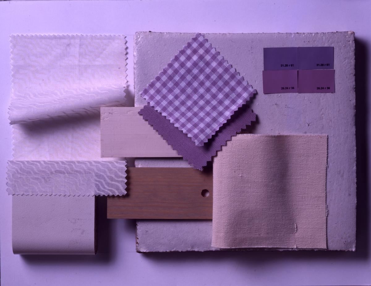 Farge- og materialeforslag til innredning av loft. Illustrasjonsbilde fra Bonytt 1986.