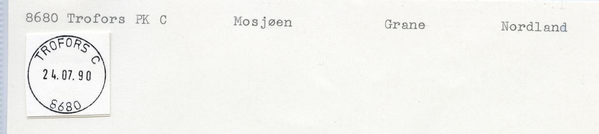 Stempelkatalog 8680 Trofors, Mosjøen, Grane, Nordland