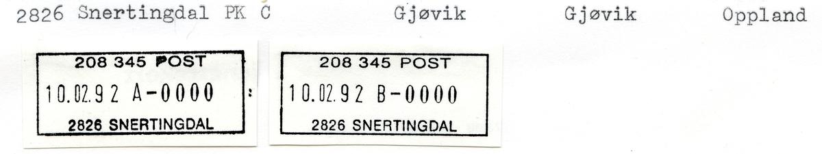 Stempelkatalog  2826 Snertingdal, Gjøvik kommune, Oppland