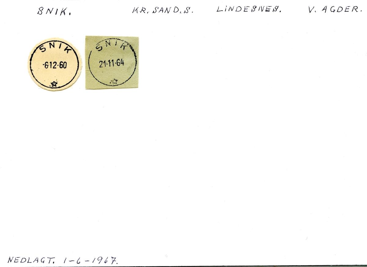 Stempelkatalog  Snik, Lindesnes kommune, Vest-Agder