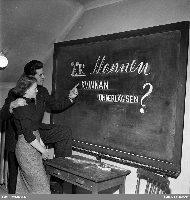 Socialdemokratiska ungdomsklubbens (SDUK) diskussionscirkel tar upp ämnet: Är mannen kvinnan underlägsen?.