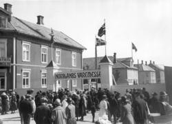 Varemessa i Bodø 1924. Inngangsportalen i Kongens gate. Halv
