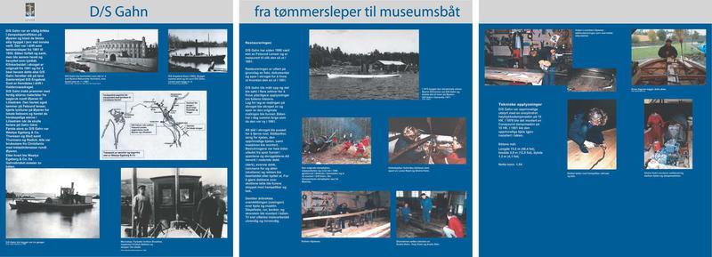 Foto av utstillingsplansje for slepebåten DS «Gahn»