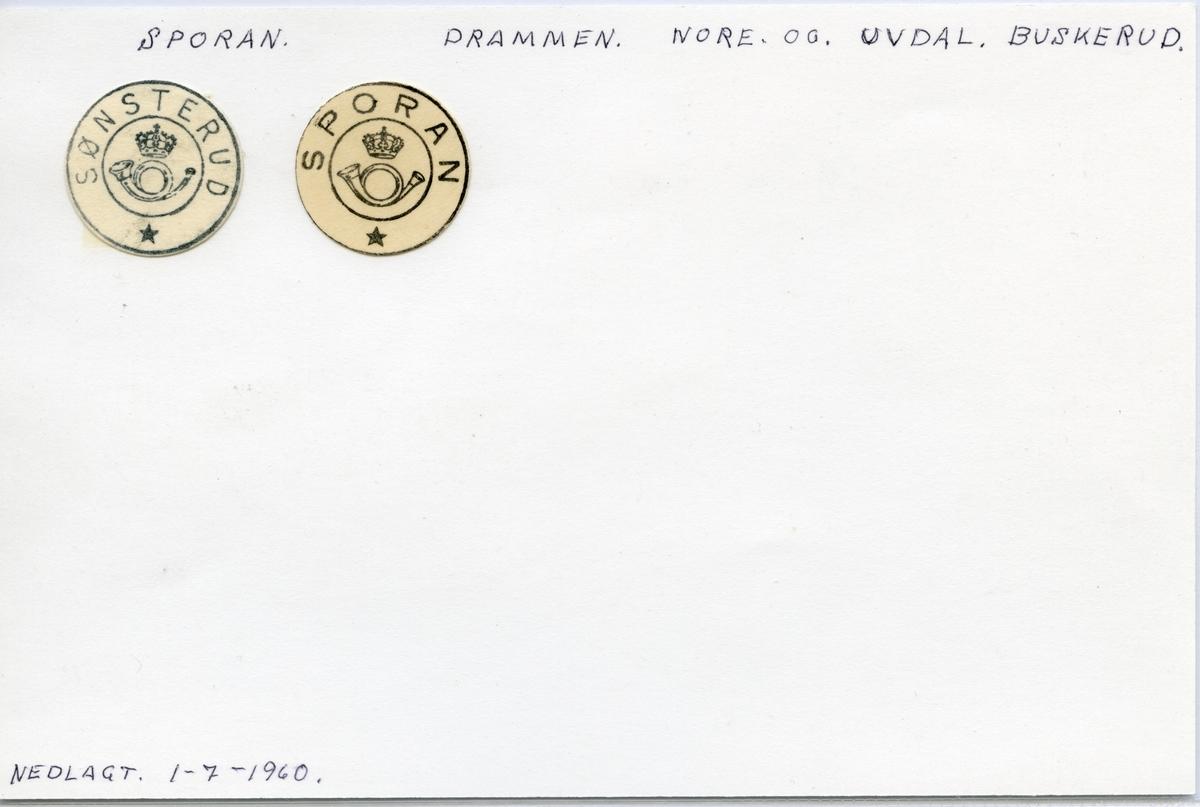 Stempelkatalog  Sporan, Nore og Uvdal kommune, Buskerud (Sønsterud)
