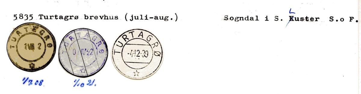 Stempelkatalog 5835 Turtagrø (Turtegrø), Sogndal, Luster, Sogn og Fjordane