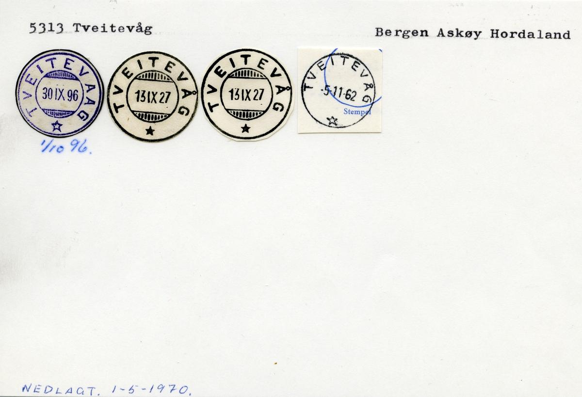 Stempelkatalog 5313 Tveitevåg, Bergen, Askøy, Hordaland
