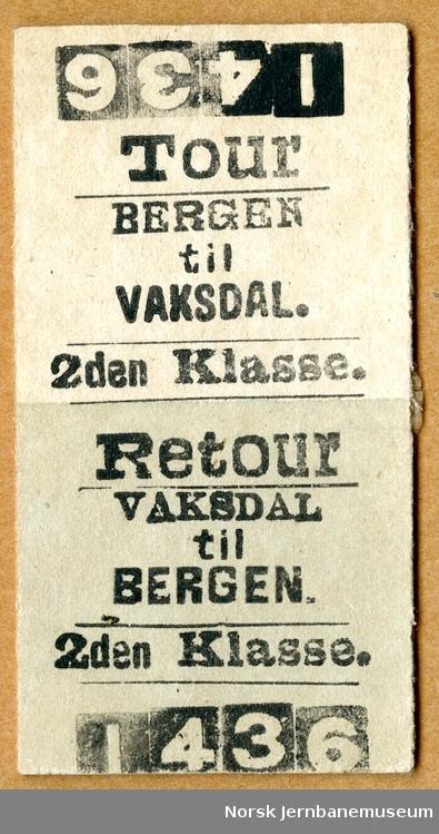 Tur/returbillett Bergen-Vaksdal, 2den Klasse, ubrukt