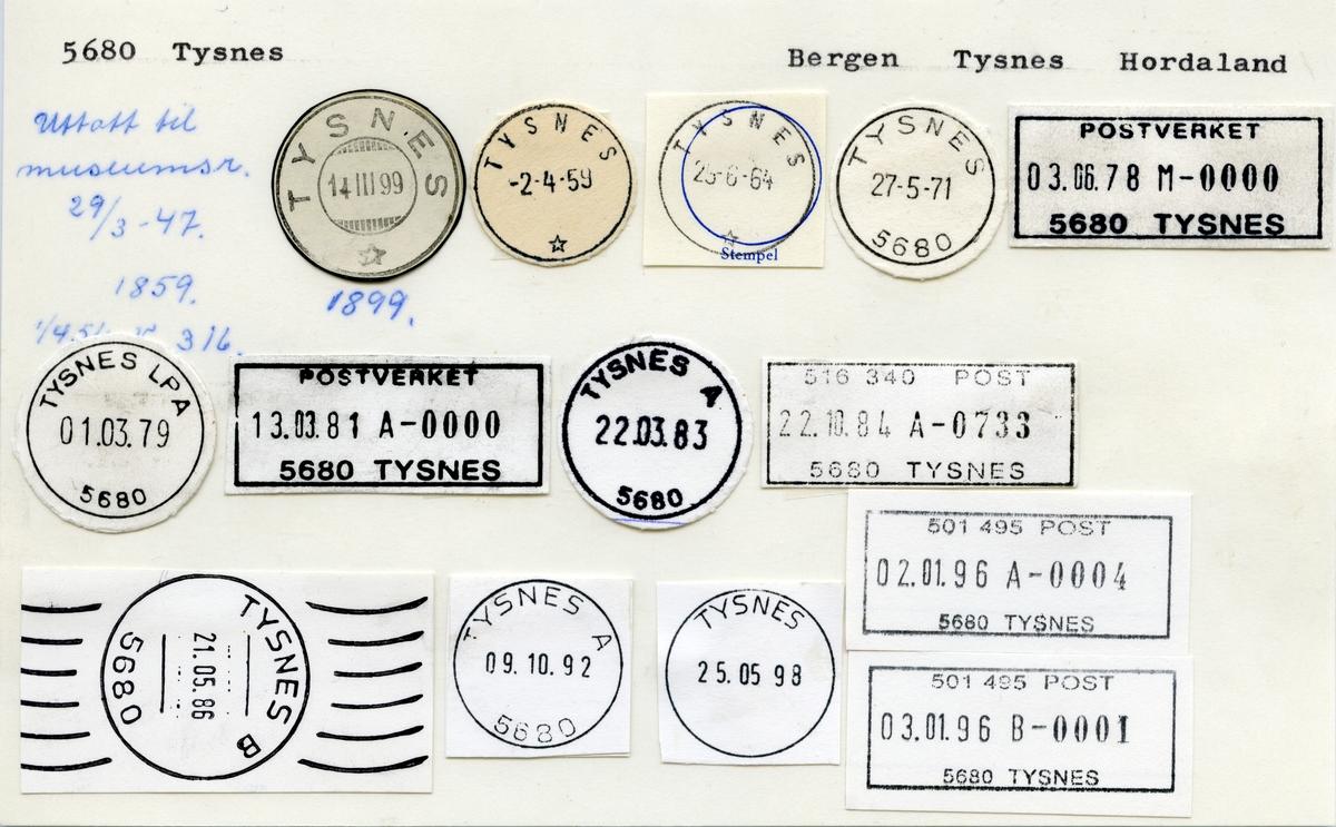 Stempelkatalog 5680 Tysnes, Bergen, Tysnes, Hordaland
