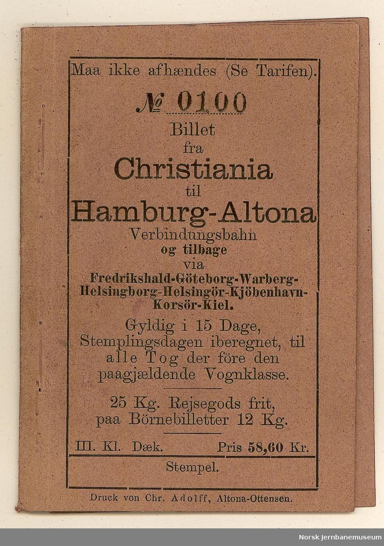 Kupongbillett Christiania-Hamburg Altona over Göteborg, København og Korsør-Kiel og tilbake - med kuponger for de enkelte delstrekninger, ubrukt