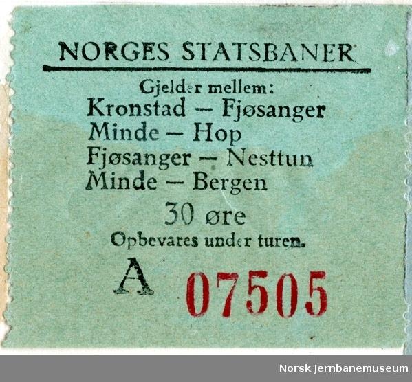 Rullebillett, Kronstad-Fjøsanger / Minde-Hop / Fjøsanger-Nesttun / Minde - Bergen, 30 øre