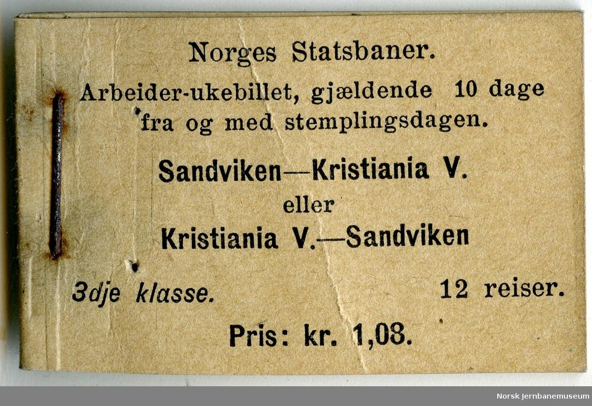 Arbeider-ukebillett Kristiania V-Sandviken, hefte
