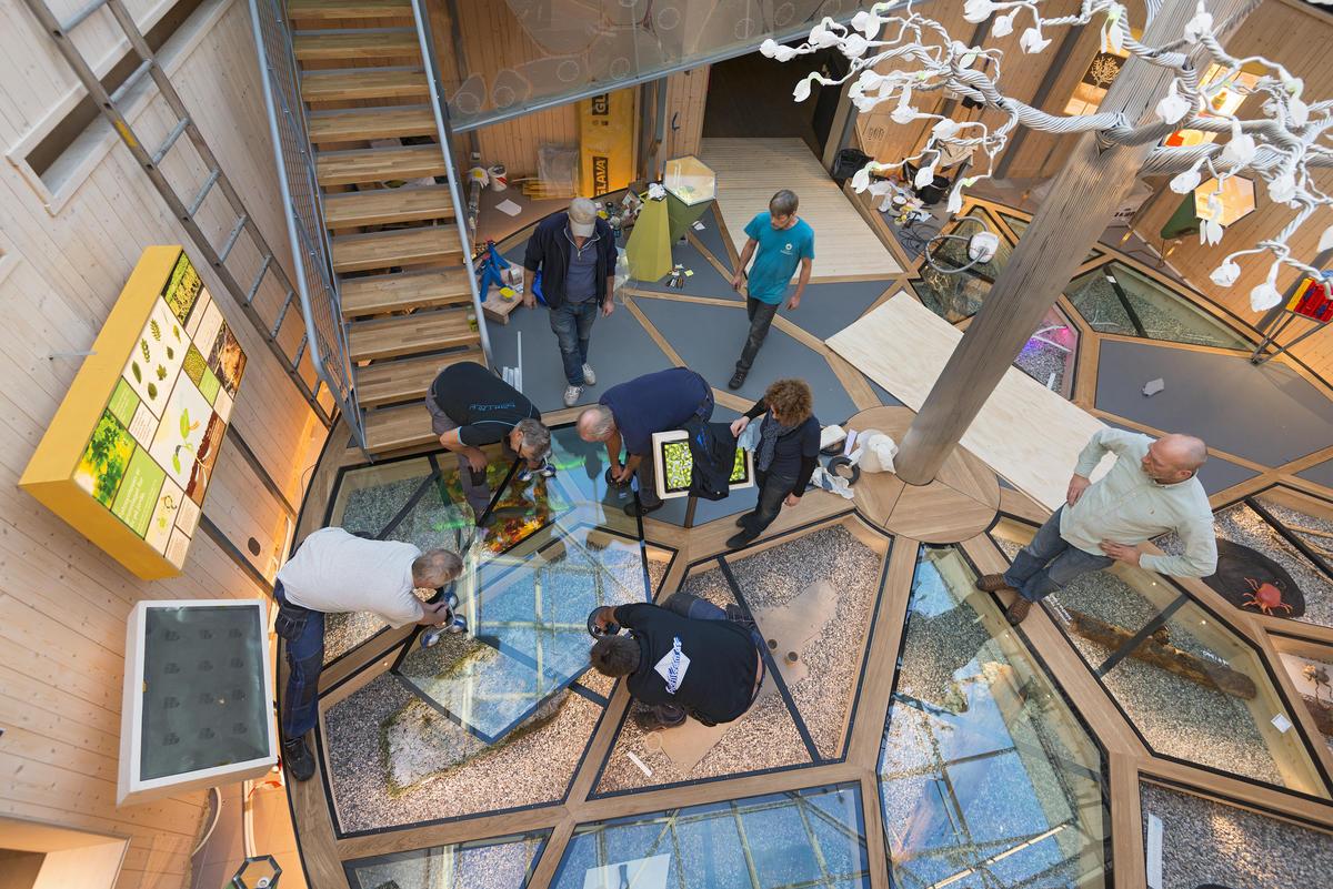 Glassplater plasseres på gulvet den 27/11 2015  under byggingen av utstillingen Det fantastiske treet. (Foto/Photo)