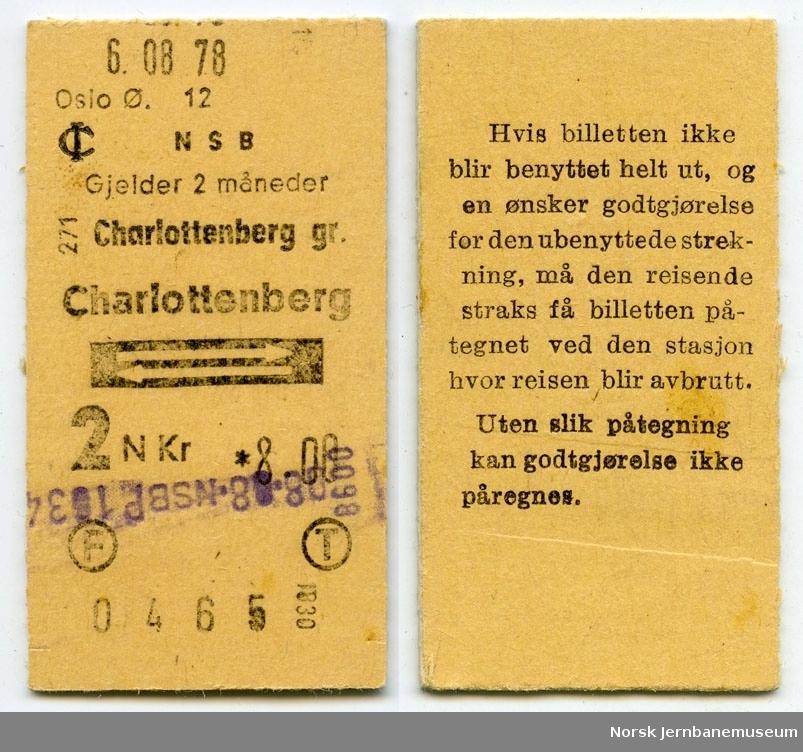 Tur/returbillett Charlottenberg gr-Charlottenberg, 2. klasse, maskinbillett