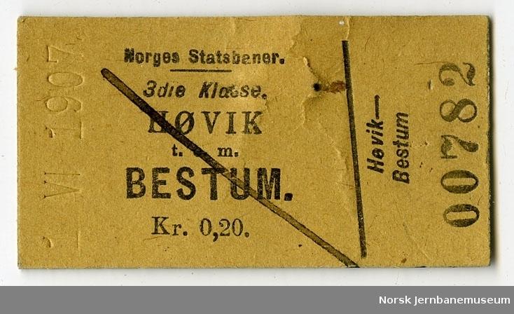 Billett Høvik-Bestum, 3. kl.
