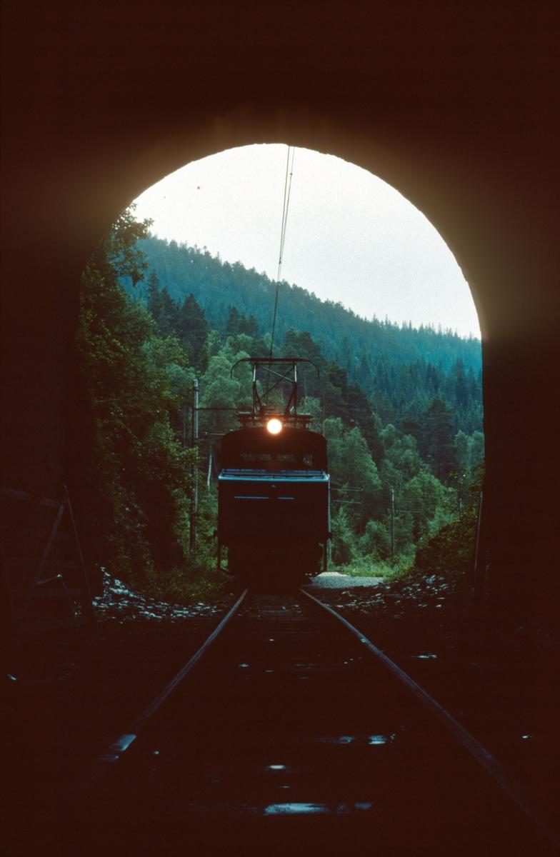 Persontog ved Klinghåmmarn, fotografert fra tunnelen.