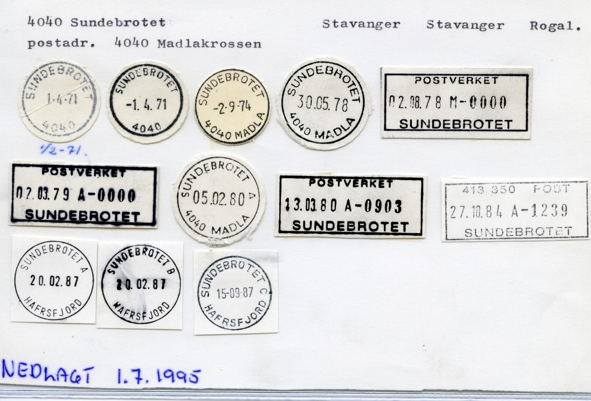 Stempelkatalog 4040 Sundebrotet Hafrsfjord, Stavanger kommune, Rogaland ( Sundebrotet 4040 Madla)
