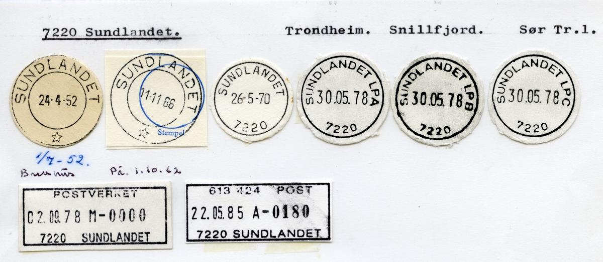 Stempelkatalog  7220 Sundlandet, Snillfjord kommune, Sør Trøndelag