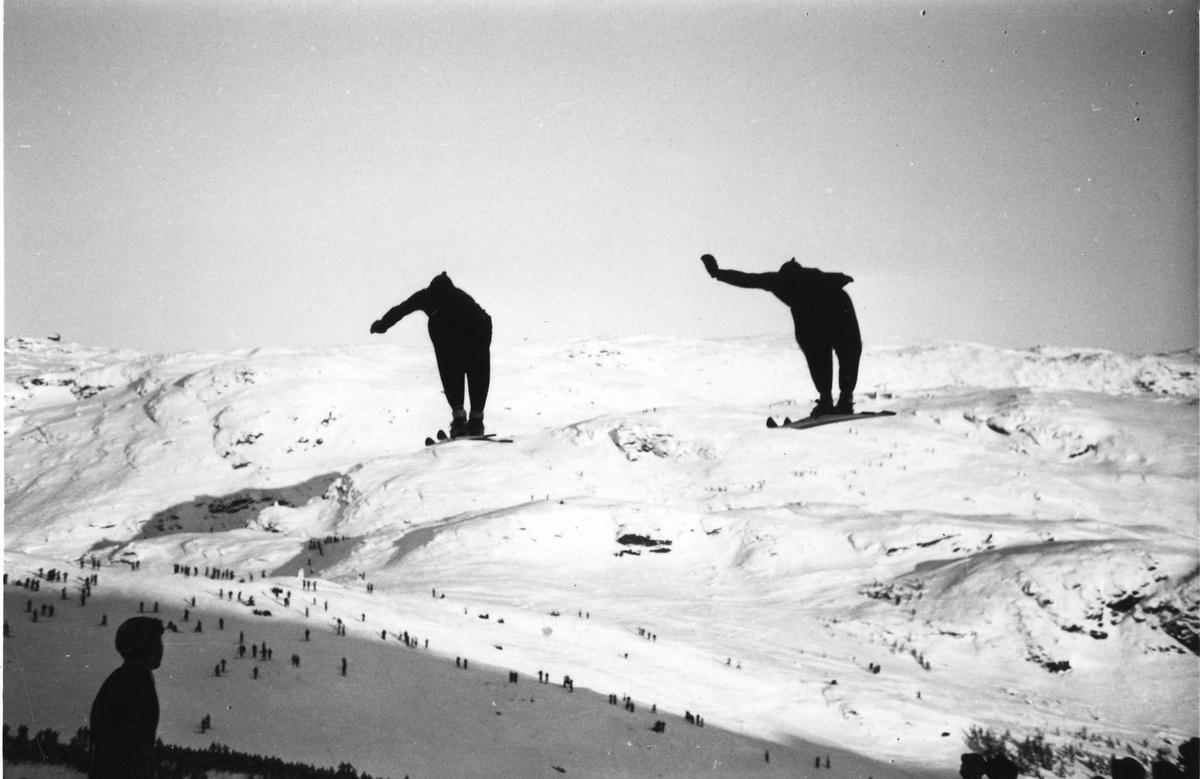Kongsberg skiers in double ski jump
