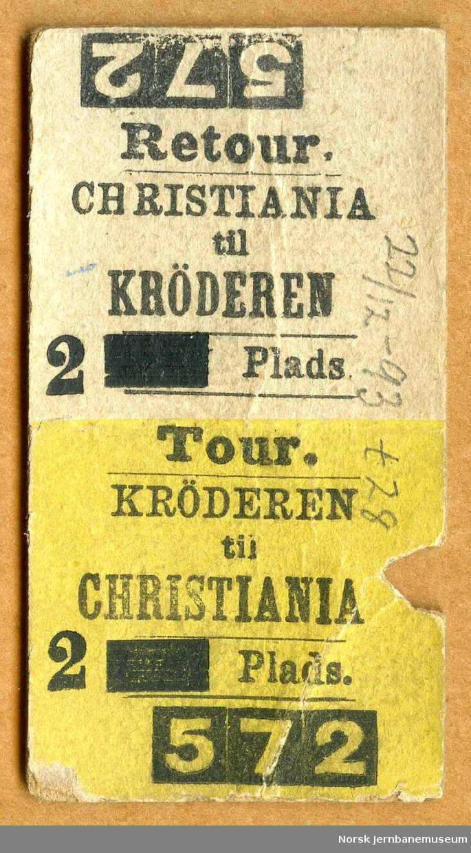 Tur/returbillett Krøderen-Christiania, 2 Plads