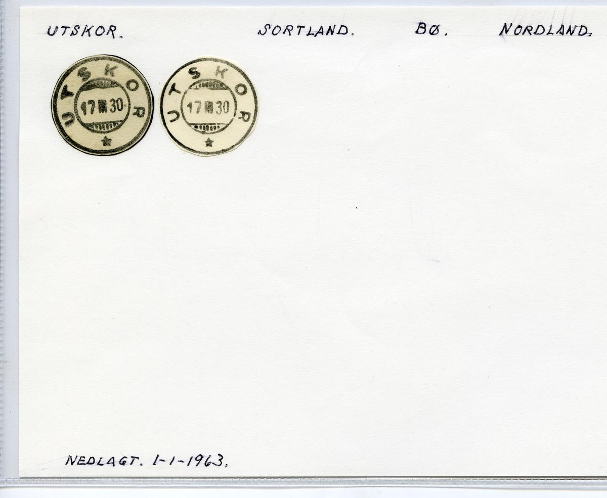 Stempelkatalog Utskor, Sortland, Bø, Nordland