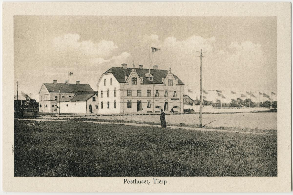 Vykort - posthuset, Tierp, Uppland