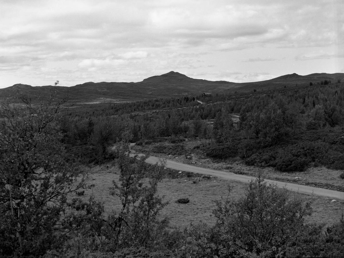Vegen Fagernes-Lillehammer. Med motiv fra området Lenningen og Røssjøen.