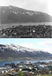 Refotografering. Utsikt over Tromsø mot Tromøya. Fotografert