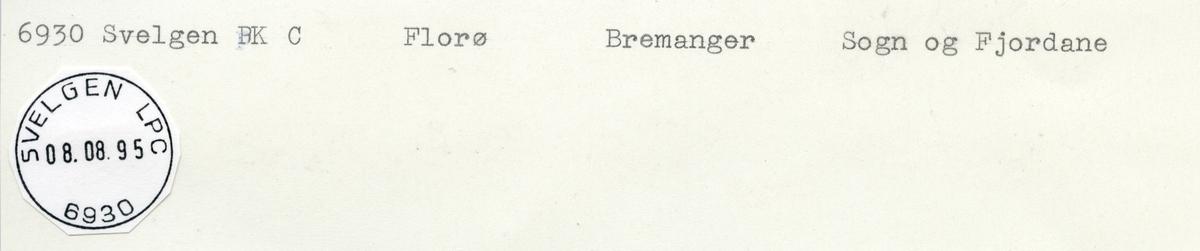Stempelkatalog  6930 Svelgen, Bremanger kommune, Sogn og Fjordane