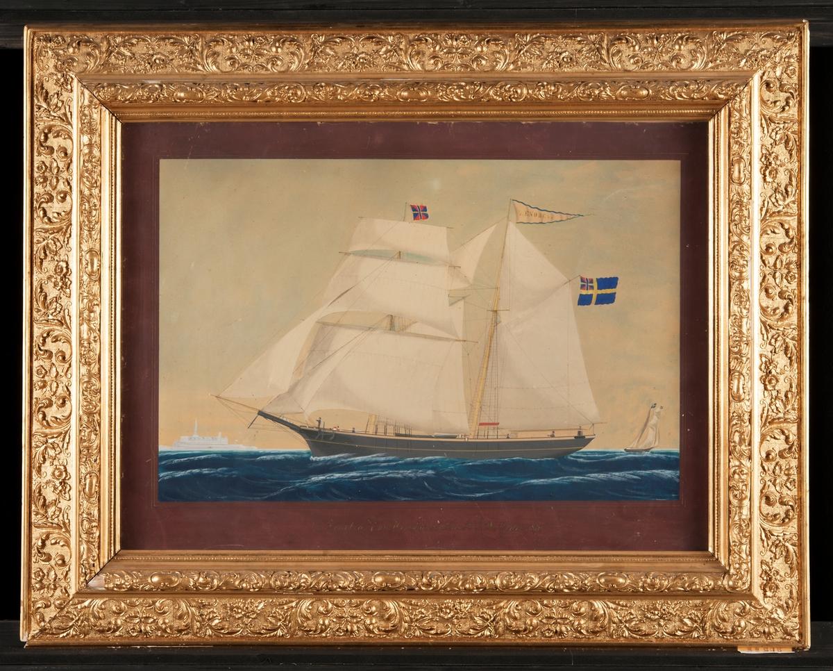 Skonerten ZENOBEA från Härnösand utanför Kronborgs slott i Öresund 1871, förd av kapten E. A. Godin.