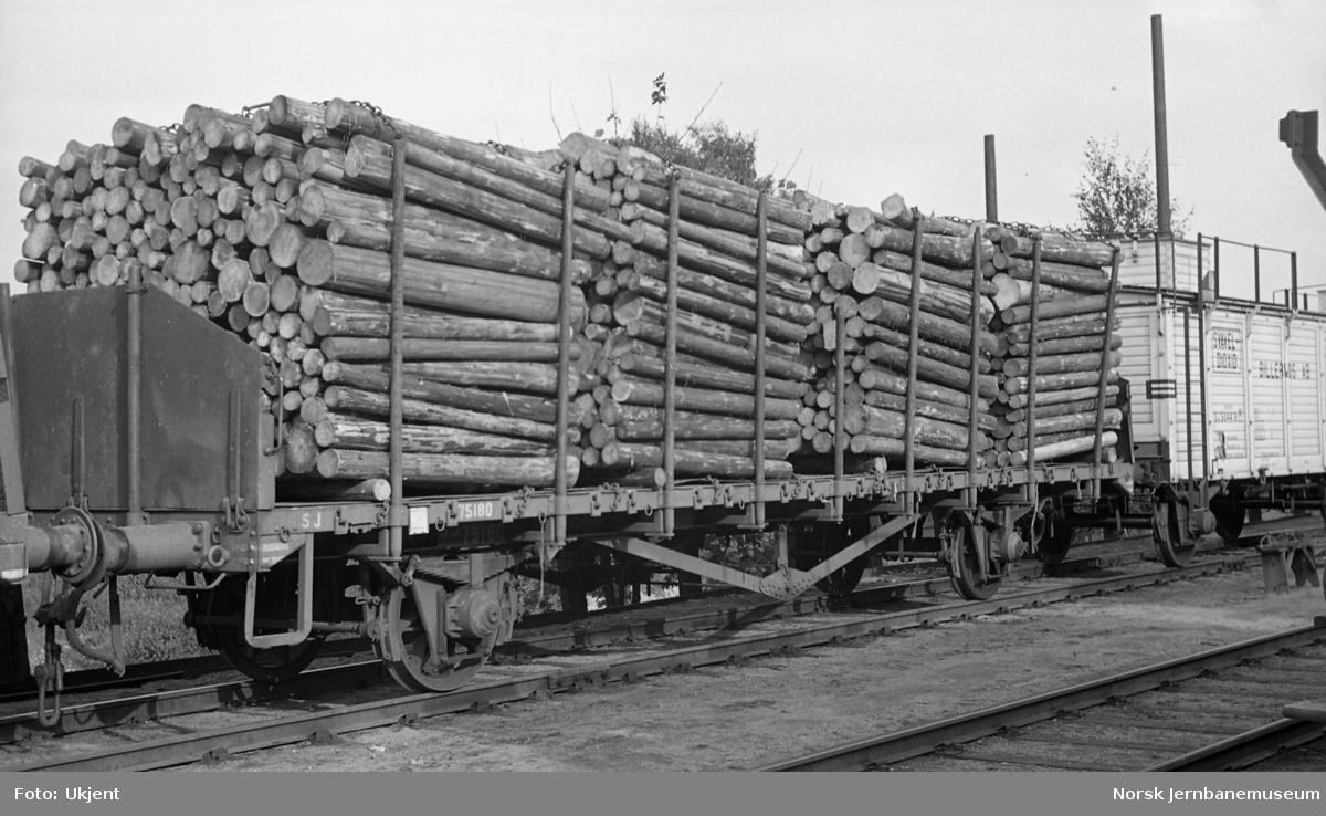 Tømmerlast på svensk godsvogn litra Om på Loenga