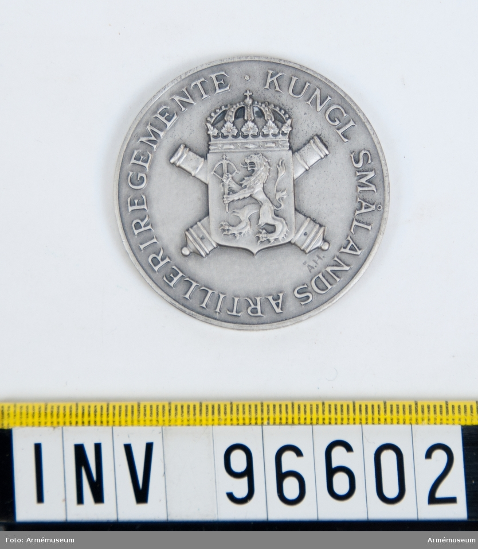 Medalj i silver för Smålands artilleriregemente.