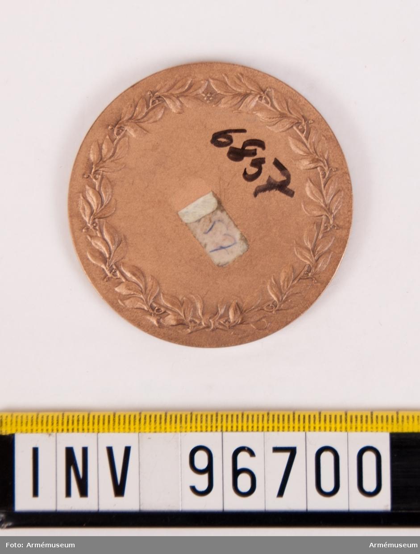 Medalj i brons för Västmanlands flygflottilj. Minnesmedalj. Medalj upptagande Västmanlands vapen krönt av kunglig krona och lagt över vingar, enligt modell av Åke Hammarberg. Stans nr 26498, 2745. Stans härdad 1959-08-26.