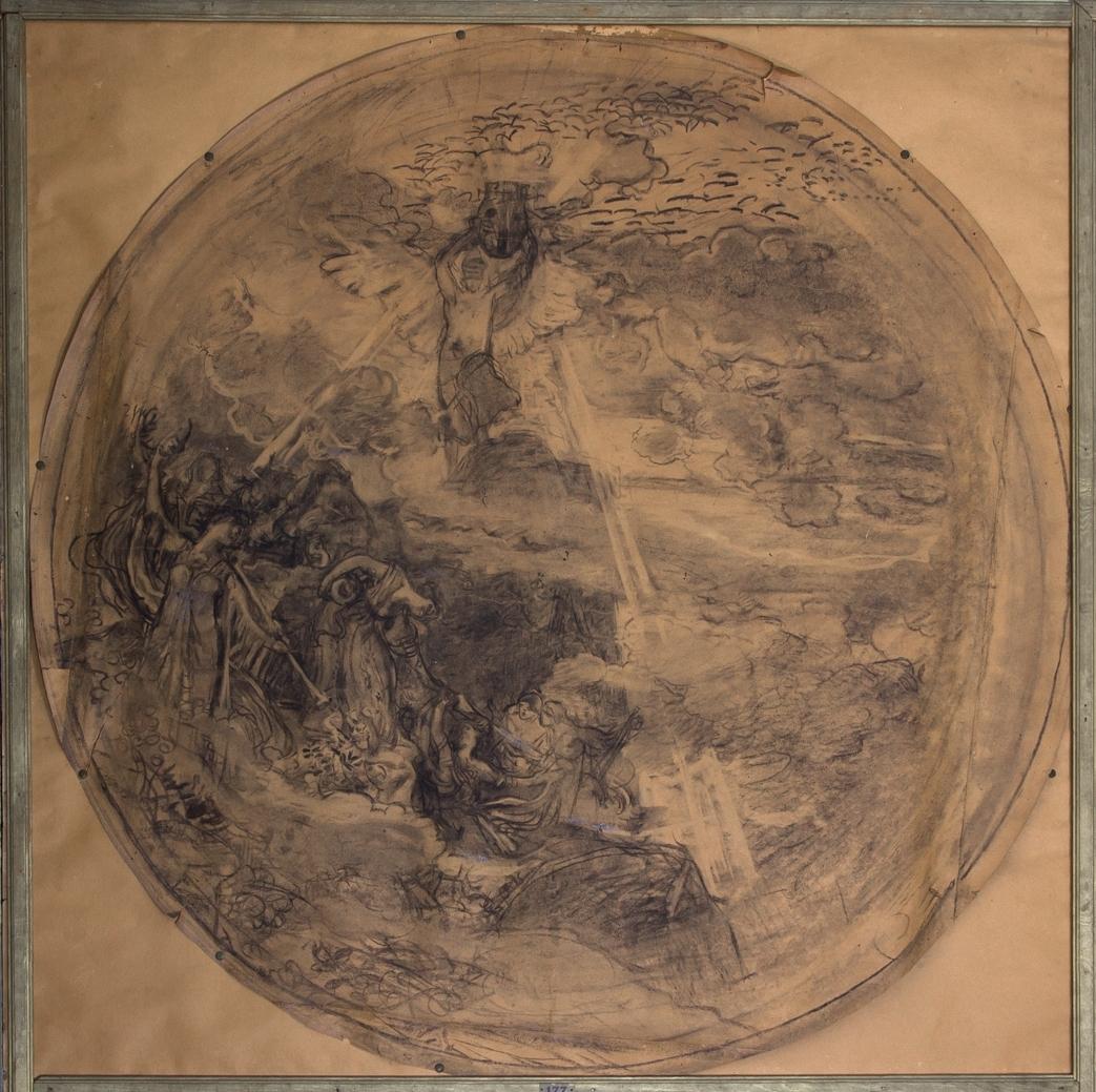 Apollo och sånggudinnorna. Apollo står på en klippa omgiven av moln och han håller i sina utsträckta händer en lyra. Från lyran utgår långa stålar. Nedanför Apollo står sånggudinnorna.