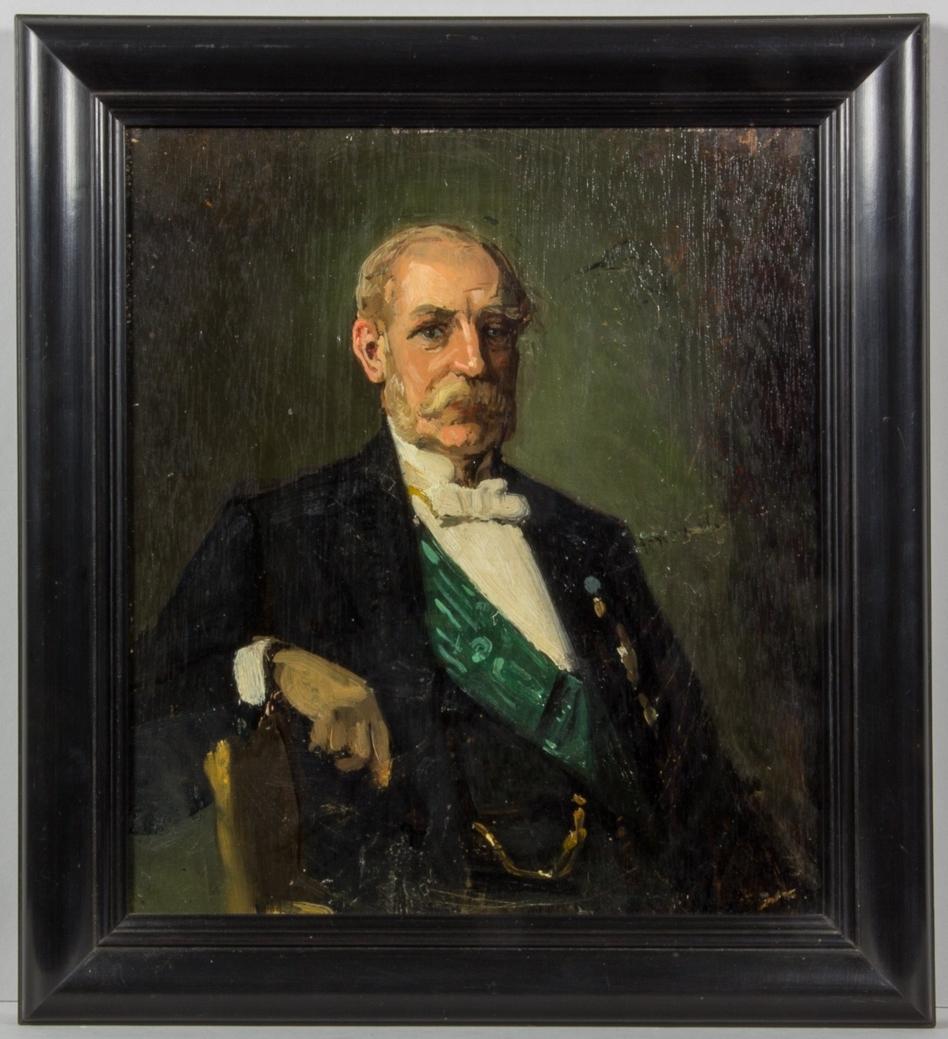 Porträttskiss föreställande Axel Wachtmeister i halvbild. Klädd i svart frack, ordnar, grönt ordensband och klockkedja. Mustasch och polisonger.