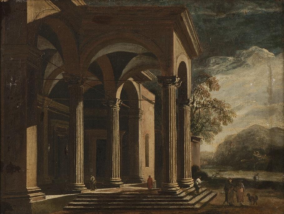 Arkitekturfantasi, palats i landskap